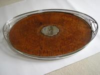 Victorian Oval Silver & Inset Walnut Gallery Tray (9 of 11)