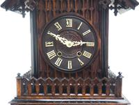 Rare Gallery Cuckoo Mantel Clock – German Black Forest Carved Bracket Clock (5 of 13)