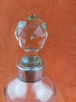 Antique Silver Plate Topped Blown Hourglass Bottle with a Cut Glass Stopper c.1900 (5 of 12)