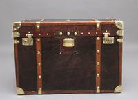 Early 20th Century Leather Bound ex Army Trunk (4 of 11)