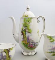 Art Deco Swan Lake Porcelain Roslyn Peacehaven Coffee Set c.1930 (7 of 10)