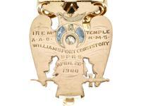 0.29ct Diamond, 0.20ct Ruby & Enamel, 12ct Yellow Gold Masonic Pendant / Watch Fob - Antique c.1900 (7 of 15)