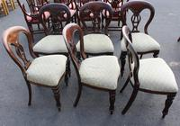 1960's Set 6 Mahogany Balloon Back Dining Chairs in pale Upholstery (2 of 3)