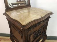 Antique French Walnut Bedside Cabinets Marble Tops & Mirrors Pot Cupboards (16 of 16)
