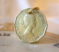 Vintage Pocket Watch Chain Fob 1966 Queen Elizabeth Threepenny 3d Coin Fob (2 of 7)