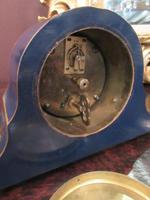 Antique Chinioserie Blue Lacquered Mantel Clock (7 of 7)