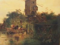 Large Antique Windmill Landscape Oil Painting on Canvas (9 of 12)