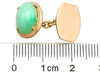 Jade / Natural Jadeite & 21ct Yellow Gold Cufflinks - Vintage c.1940 (5 of 6)
