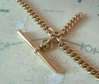 Antique Pocket Watch Chain 1890s Victorian 18ct Rose Rolled Gold Albert With T Bar (6 of 12)