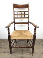 Antique Elm Spindle Back Armchair with Rush Seat (10 of 10)