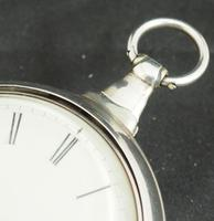 Antique Silver Pair Case Pocket Watch Fusee Escapement Key Wind Enamel Dial John Bernard London Liverpool (11 of 12)