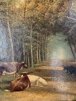Antique 19th Century British Landscape Oil Painting of Cows Cattle in Wood Signed JD Morris '2 of 2' (5 of 10)
