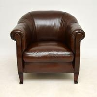 Pair of Antique  Swedish  Leather Club Armchairs (4 of 12)