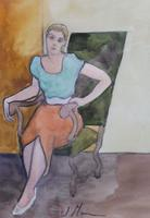 Pair of Watercolours Girl in the Chair Listed French Artist Janine Marca 1960s (8 of 10)