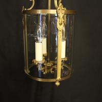 French Gilded Convex Triple Light Antique Hall Lantern (3 of 10)