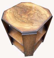Good Quality Art Deco Burr Walnut Octagonal Side Table (5 of 6)
