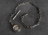 Antique Silver Albert Watch Chain and Enameled 1897 South African Shilling Fob in Silver Mount, 15 Inch (12 of 12)