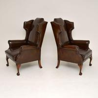 Pair of  Antique  Leather Wing Back Armchairs (2 of 11)