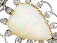 5.95ct Opal & 0.35ct Diamond, Platinum Brooch - Antique Victorian (9 of 9)