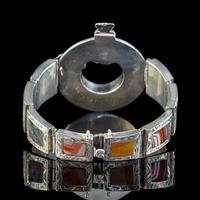 Antique Victorian Scottish Agate Buckle Bracelet Silver c.1860 (2 of 6)