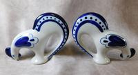 "Pair of Gzhel Blue & White Porcelain ""Pecking Chickens"" (2 of 10)"