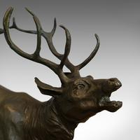 Antique Stag Bronze, French, Deer, Elk, Prosper LeCourtier, Victorian c.1900 (3 of 12)