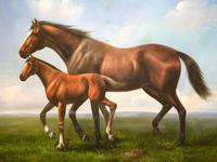 Huge Great English Canvas Portrait Mare Horse with Foal Picture after Neil Cawthorne (2 of 2)