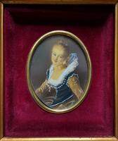 Lovely Original Vintage Miniature Portrait Oil Painting in 18th Century Manner (2 of 8)