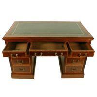 Victorian Mahogany & Satinwood Pedestal Desk (3 of 8)