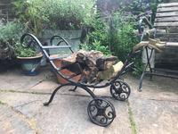 Wrought Iron & Brass Log Cart