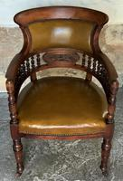 Exceptional 19thc Antique Mahogany Upholstered Library Captains Desk Armchair (7 of 12)
