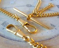 Vintage Pocket Watch Chain 1970 12ct Gold Plated Curb Link Albert With T Bar (7 of 10)