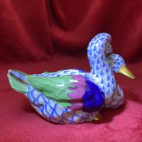 Herend Blue Fishnet Pattern Model of Two Ducks (5 of 6)
