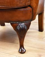 Victorian Hand Dyed Brown Leather Wing Back Armchair (10 of 13)