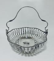 Antique Georgian 18th Century Solid Silver Swing Handle Bread Basket 1774 (3 of 19)