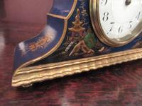 Antique Chinioserie Blue Lacquered Mantel Clock (4 of 7)