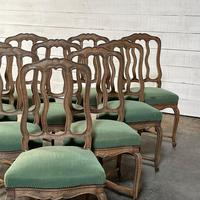 Set of 10 French Bleached Oak Farmhouse Dining Chairs (9 of 16)