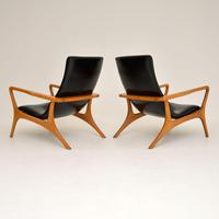 Pair of Vintage Leather Armchairs in the Manner of Vladimir Kagan (6 of 15)