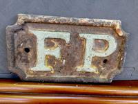 Rare Mid 19th Century 'Fire Plug' FP Cast Iron Plaque Architectural Salvage