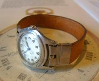 Vintage Wrist Watch Strap 1940s WW2 Military 16mm Brown Pig Skin Spring Loaded Ends Nos (3 of 12)