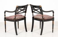 Pair of Ebonised Regency Style Open Armchairs (6 of 9)