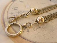 Antique Pocket Watch Chain 1880s Victorian Silver Nickel & Enamel Fancy Albert (10 of 11)