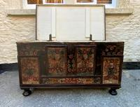 Large 19thc Swedish Country House Robust Painted Pine Storage Coffer Chest (5 of 18)