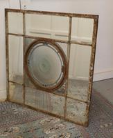 Large 19th Century Industrial Window Mirror with Central Leaded Bottle Glass Opening (7 of 8)