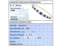 3.50 ct Sapphire and 1.30 ct Diamond, 18 ct Yellow Gold Bangle - Antique French Circa 1890 (6 of 9)