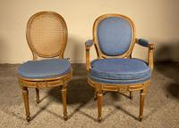 Set Of 12 Chairs And Two Armchairs Louis XVI 18th Century (4 of 11)