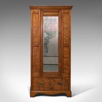 Antique Wardrobe, English, Pitch Pine, Closet, Dressing Mirror, Victorian c.1900 (2 of 12)