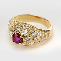 Vintage French Ruby & Diamond Dress Ring c.1960