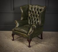 Vintage Green Leather Wing Chair (14 of 25)