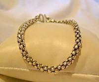 "Vintage Silver 925 Popcorn Bracelet 1970s Big Shepherds Hook Clasp 7 3/4"" Length (4 of 11)"